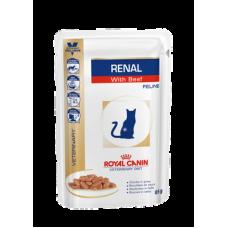 Мокрый корм в соусе диетический для взрослых кошек Royal Canin Renal с говядиной 85 гр.